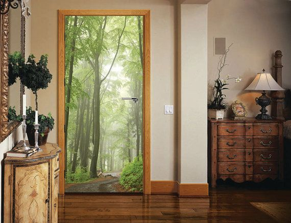 The latest innovation in interior decoration. Highest standards - photo quality self-adhesive door stickers. Change a mere door into the focal & Door Sticker FOREST ROAD Self-Adhesive Vinyl Decal Poster Mural ... pezcame.com