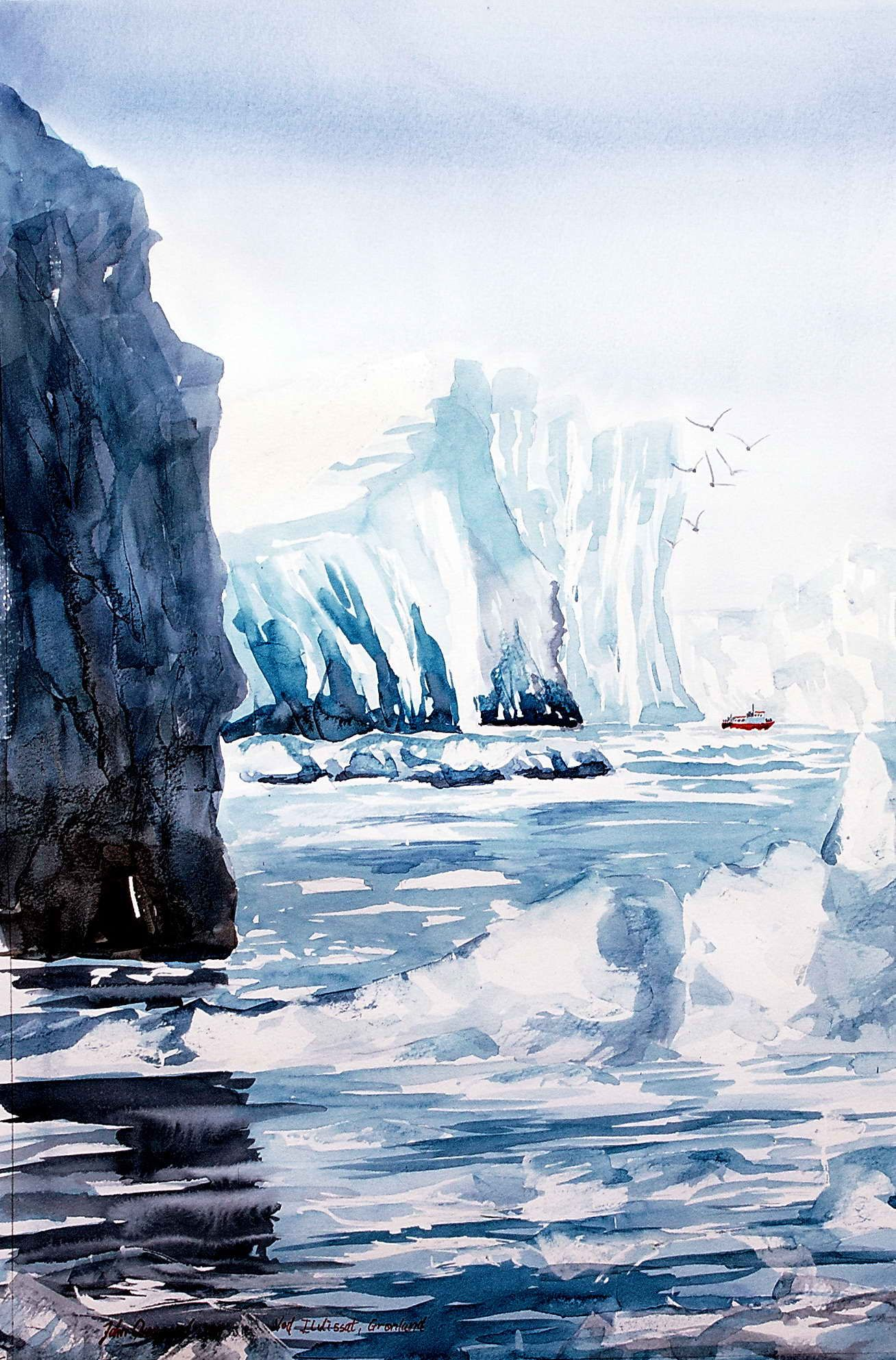 Large Icebergs Small Boat From Greenland Watercolor Artist John