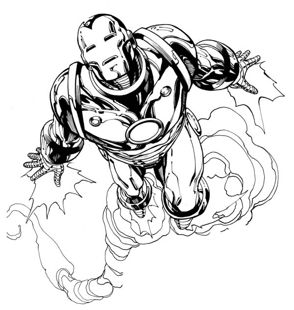 Iron Man Flying Fast Like A Jet Coloring Page Netart Di 2020