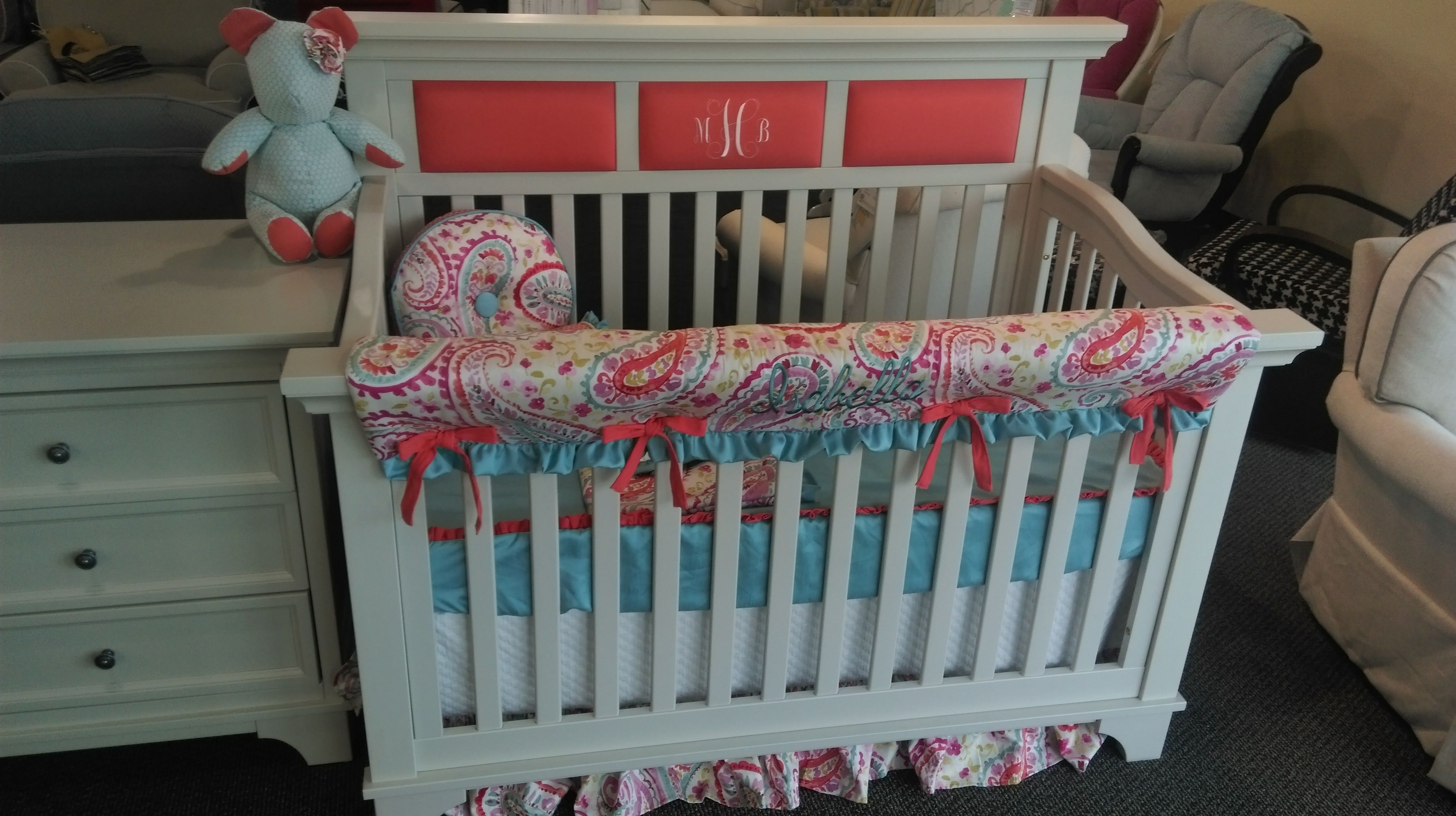 Crib for sale charleston sc - Baby S Monogram On Coral Fabric On The Upholstered Headboard Of The Arcadia Crib With Spring Paisley Bedding On Display At Baby Furniture Plus Kids In Sc