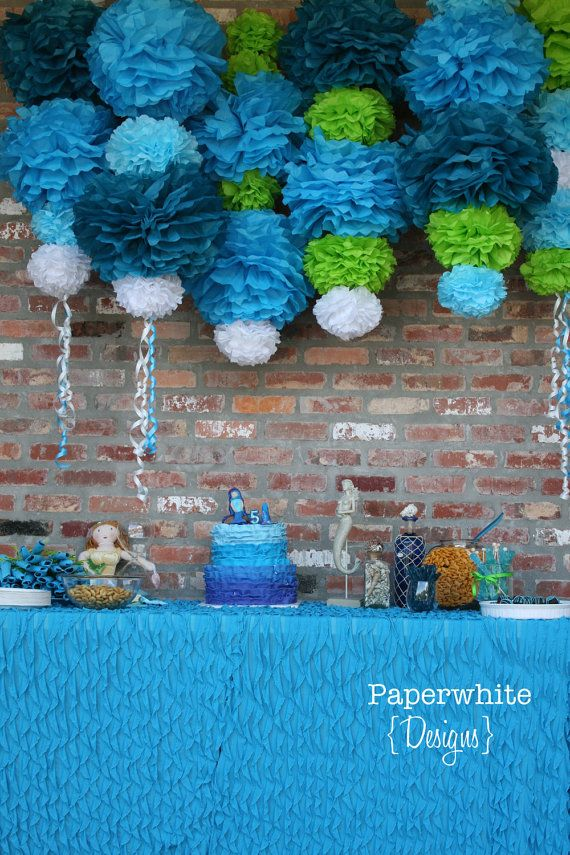 Ariel Collection-5 Pom Poms- Mermaid party decoration/ baby shower hanging decoraiton/ nursery mobile/ photography prop. $20.00, via Etsy.