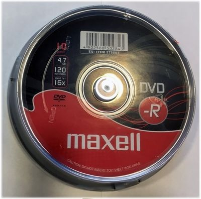 Maxell DVD-R, 1-16x, 4,7 GB/120 min, 10-pakkaus spindle