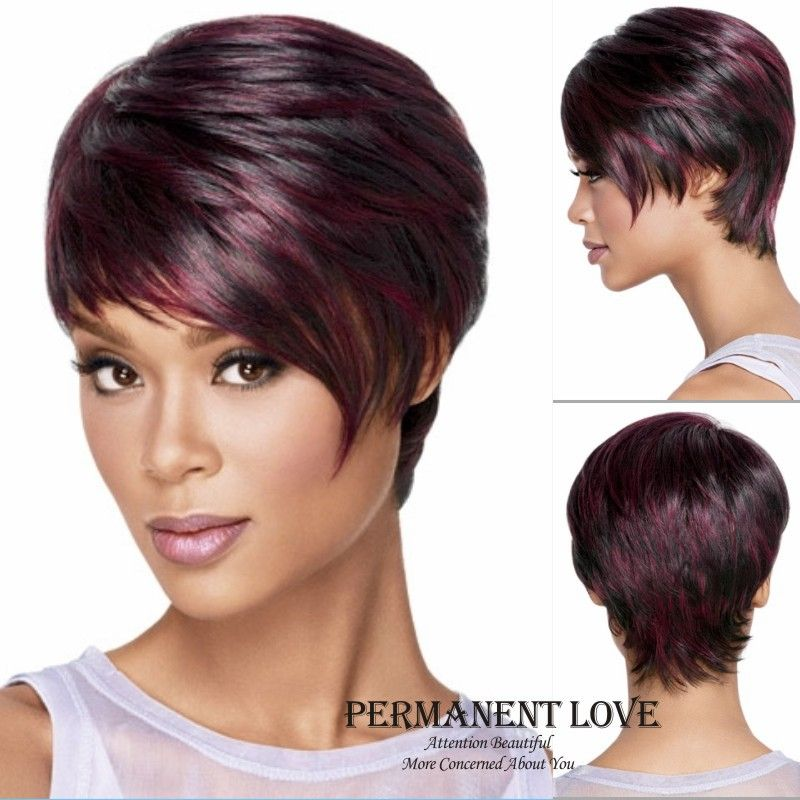 Medusa Hair Products Red Afro Short Pixie Cut Style Wig With Bangs Straight Synthetic African American Wigs For Women