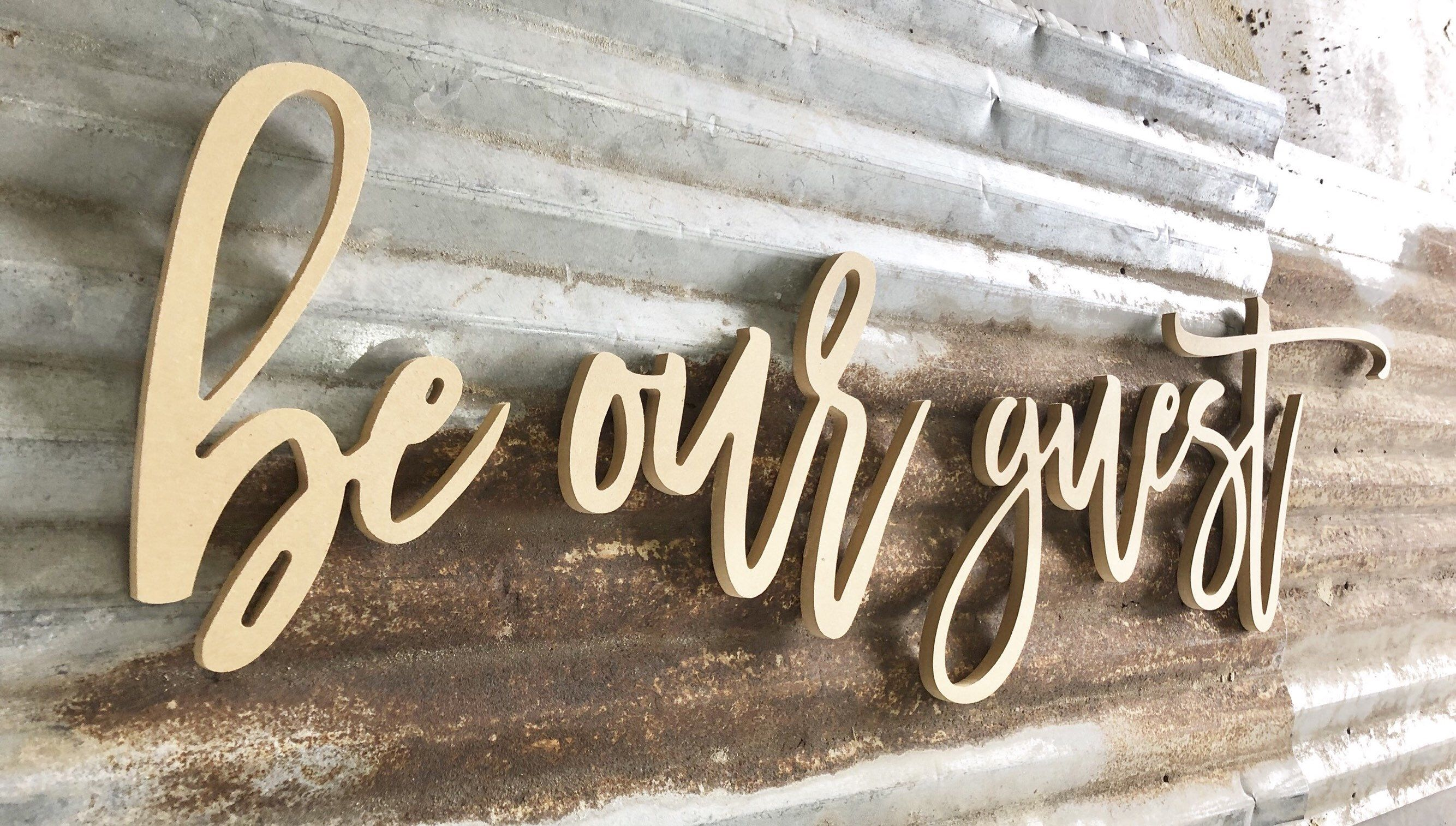 Be Our Guest Cursive Letters Wood Wall Art Housewarming Wood Supplies Wood Diy Always Come Ho Wood Letter Wall Decor Initial Wall Decor Letter Wall Decor