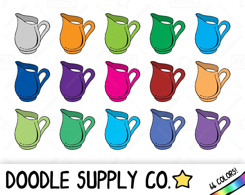 64 Doodle Milk Jug Clipart, Kitchen Clipart, Jug of Milk, Food ...