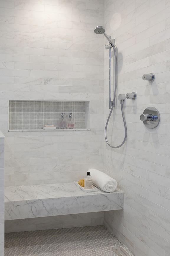 Curbless shower with seat, and handheld. Christine Sheldon Design ...