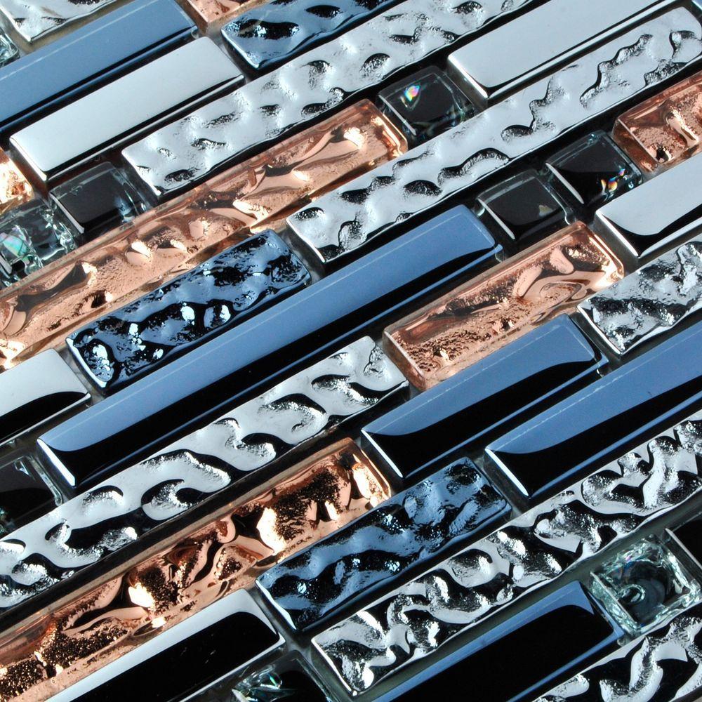 Rose Gold Ink Blue Chrome Interlocking Glass Tile Kitchen Backsplash ...