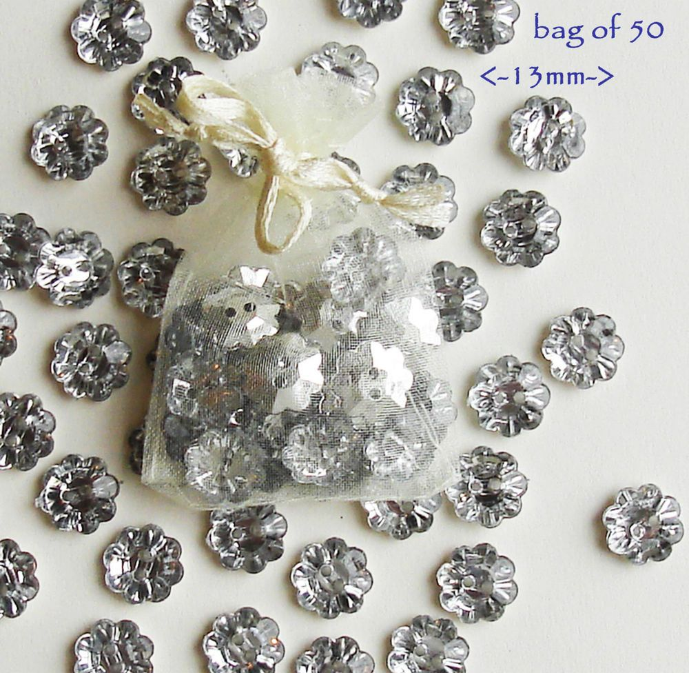 Flower Buttons 50 Vintage Style Sparkly Silver Diamante Effect.13mm Sparkle Sew