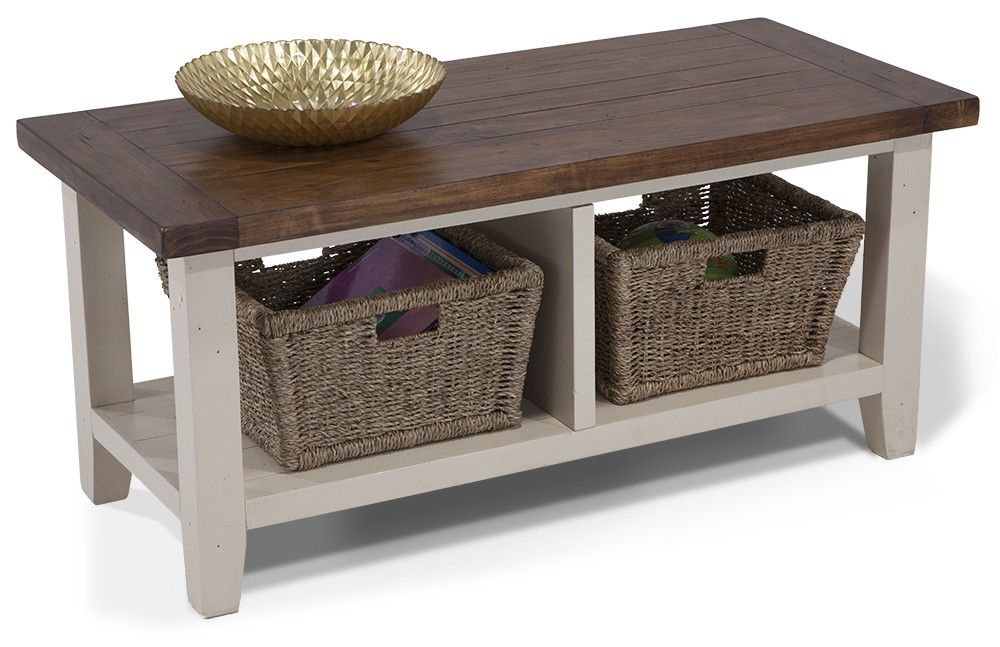 Rustic bench with two basket storage! | For the Home | Pinterest