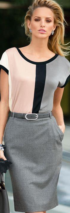 Fashion Work Wear | Rosamaria G Frangini | Madeleine Top and Wool Skirt