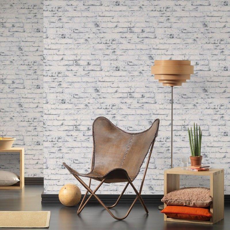 Papel pintado con relieve ladrillo blanco y gris for Papel pintado piedra gris