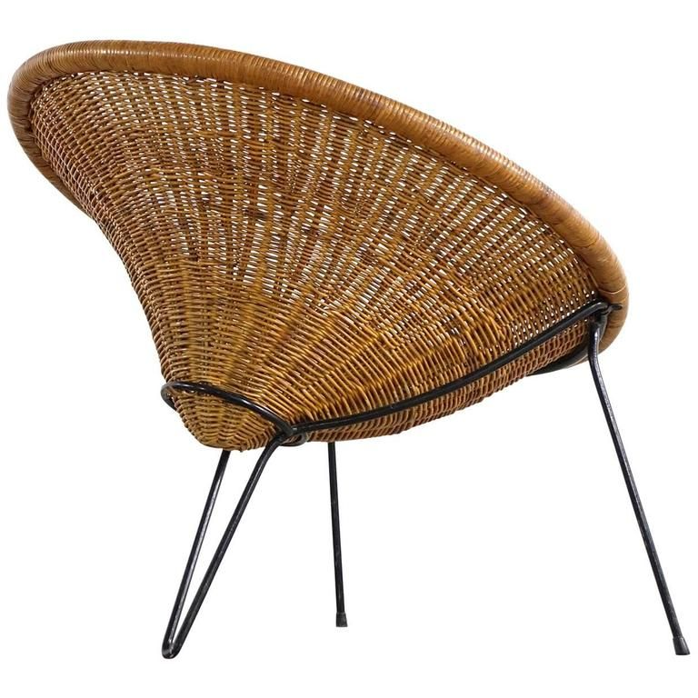 Swell Tripod Rattan Lounge Chair Attributed To Roberto Mango Camellatalisay Diy Chair Ideas Camellatalisaycom