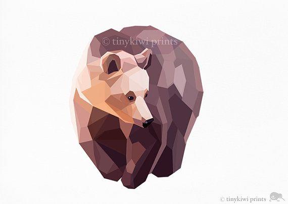 Bear grizzly bear geometrische druk originele for Minimal art kunst