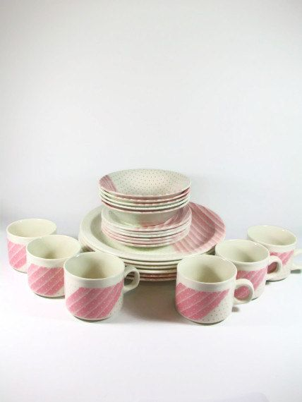 Pink Polka Dot Dinnerware Dish Set Churchill China By A2ndlife Service For 6 Vintage Pink Retro Pink Dinnerware Sets Pink Dinnerware Polka Dot Dishes