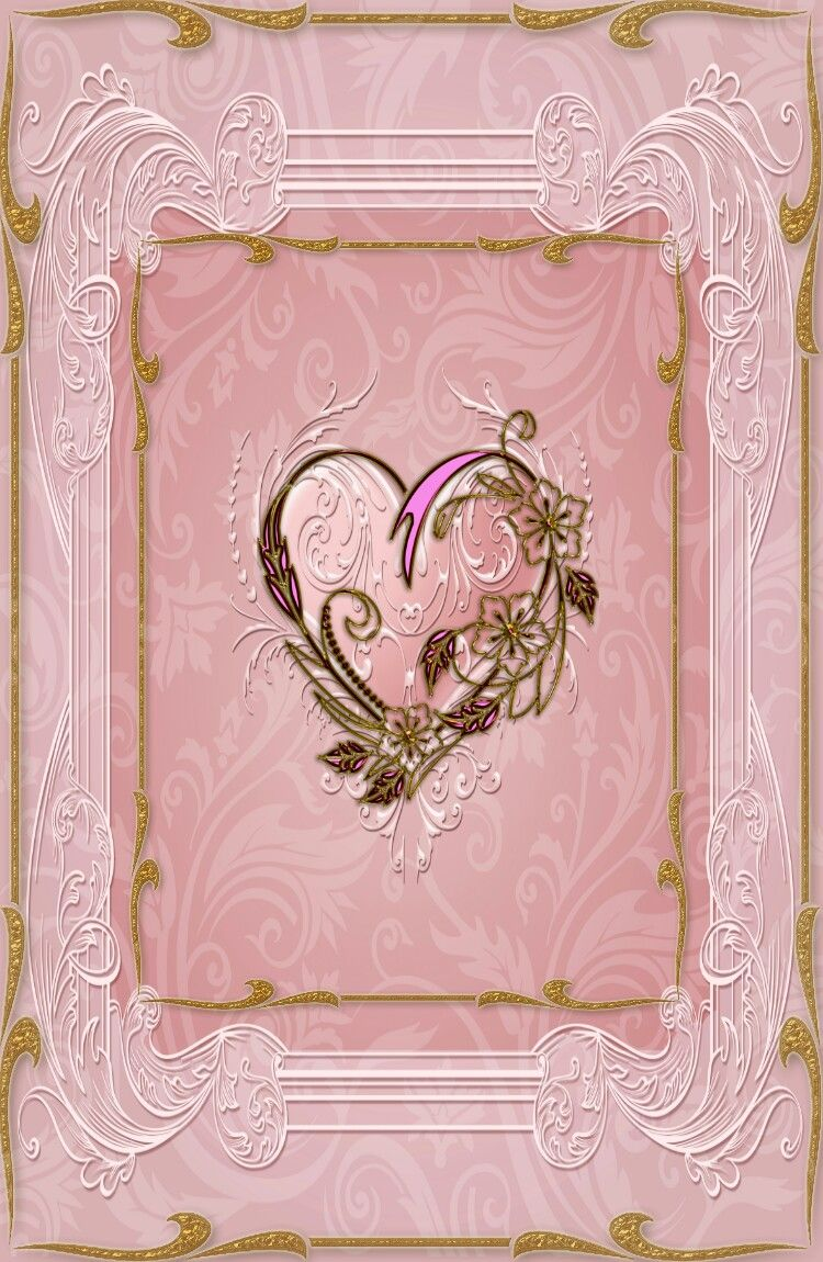 Pink And Gold Heart Wallpaper Flowery Wallpaper Beautiful Rose