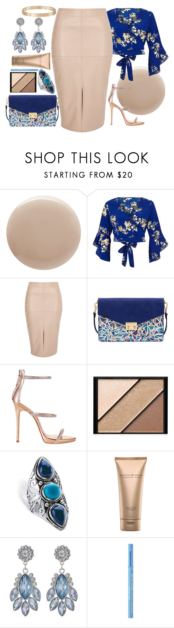 """""""Untitled #226"""" by cristianamikaelson ❤ liked on Polyvore featuring Oribe, River Island, Mellow World, Giuseppe Zanotti, Elizabeth Arden, Palm Beach Jewelry, Donna Karan, Too Faced Cosmetics and Cartier"""