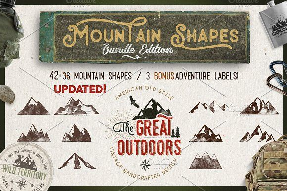 Mountain Shapes Bundle & Labels by JeksonGraphics on @creativemarket