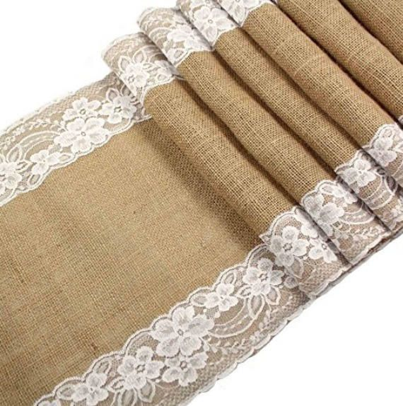 Burlap Lace Hessian Table Runner Jute Country Outdoor Shabby Chic