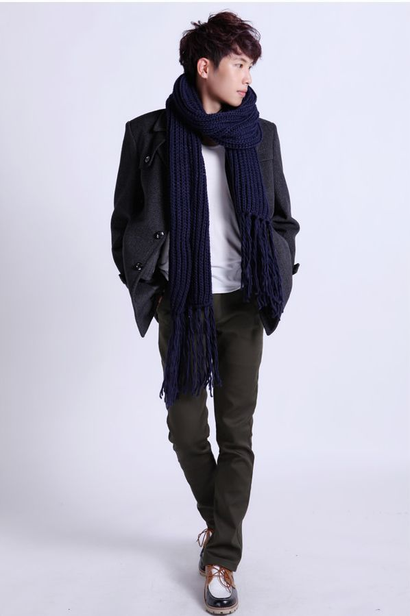 625e0fd858719 Korea Fashion Twisted Tassel Thicken Solid Color Men Long Scarf ...