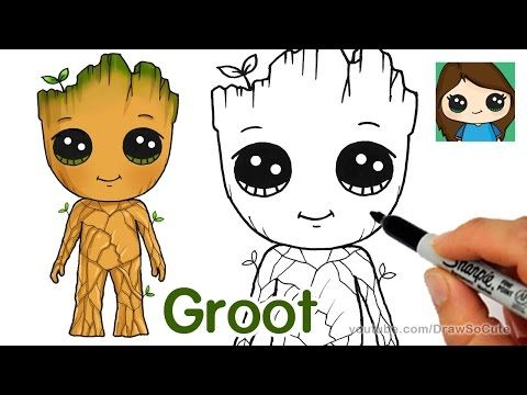 How To Draw Baby Groot Guardians Of The Galaxy Youtube With