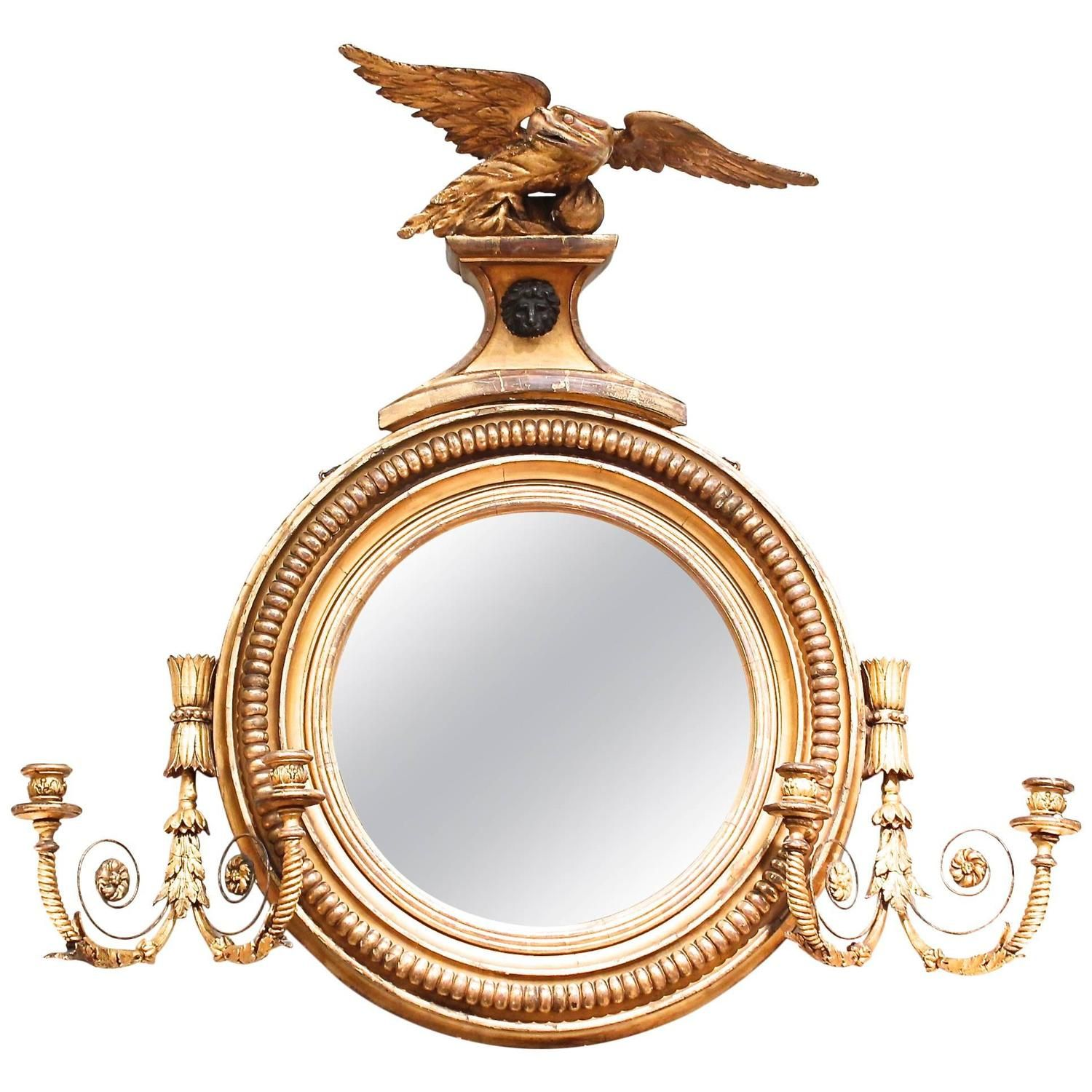English Regency Giltwood Convex Girandole Mirror with Eagle   From a unique collection of antique and modern wall mirrors at https://www.1stdibs.com/furniture/mirrors/wall-mirrors/