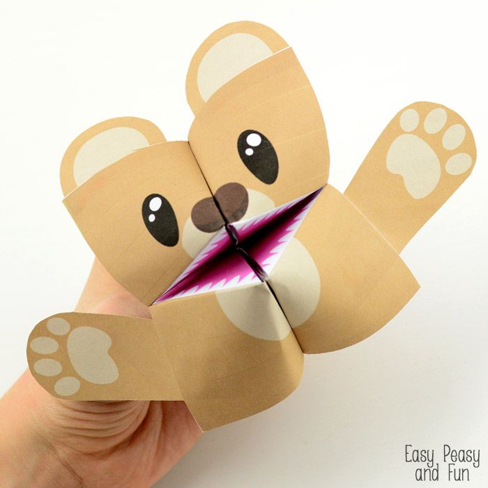 Teddy Bear Cootie Catcher - Origami for Kids Catcher, Teddy bear - cootie catcher template