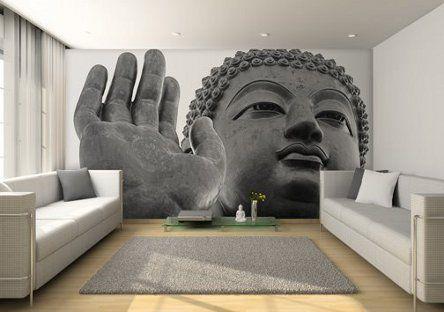 Buddha wallpaper. Serene livingroom Andlighet