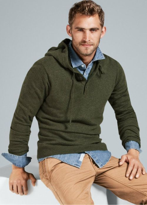 Men 39 S Olive Hoodie Light Blue Denim Shirt Khaki Chinos