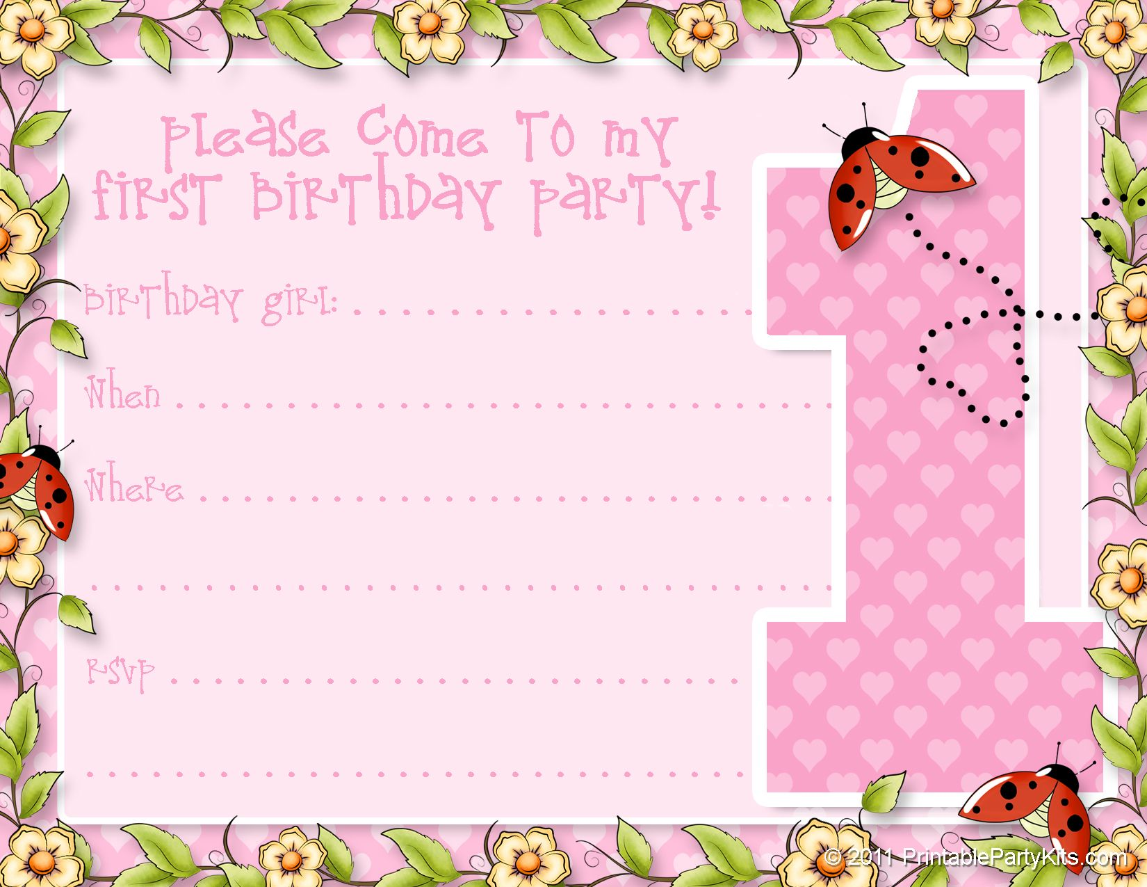 FREE PRINTABLE GIRLS 1ST BIRTHDAY INVITATION TEMPLATES Google
