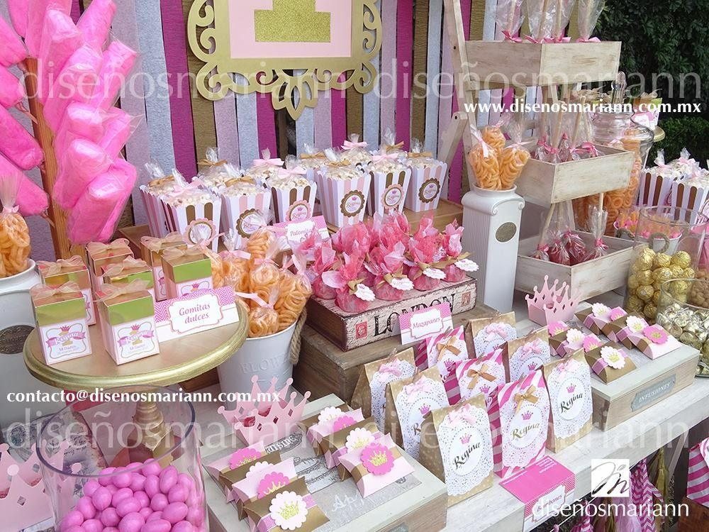Mesa de dulces princesa 1 a o rosa y dorado mesa de for Decoracion de cumpleanos rosa y dorado