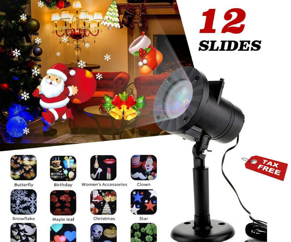 Christmas Decor Led Laser Light Projector Outdoor Xmas Garden Lamp 12 Patterns Mzd8391 Led Projector Lights Halloween Projector Christmas Light Projector