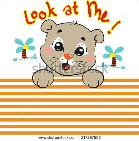 "Cute baby tiger ""look at me"" on lined background vector."