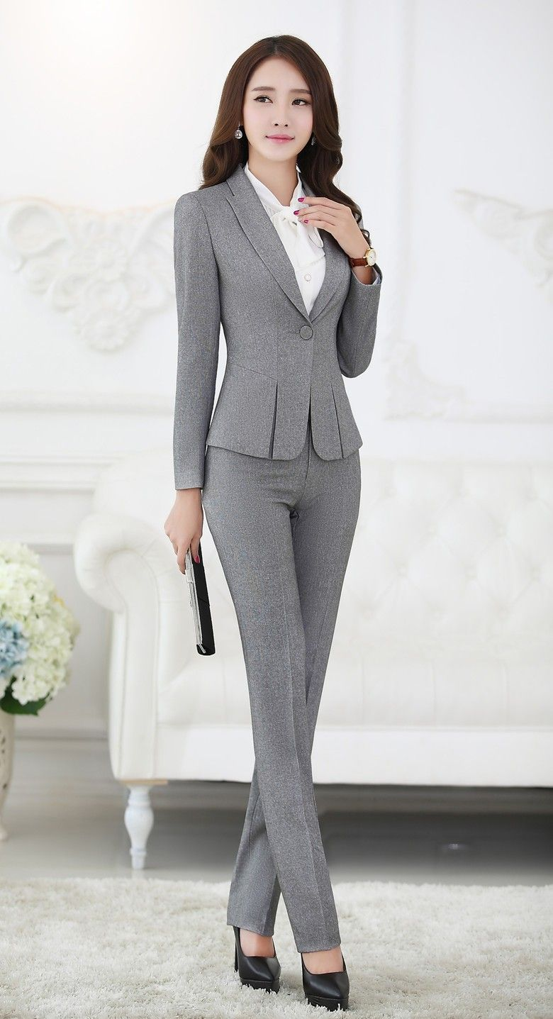 57dc48b73a Formal Pant Suits for Women Business Suits for Work Wear Sets Gray Blazer  Ladies Office Uniform Styles Pantsuits
