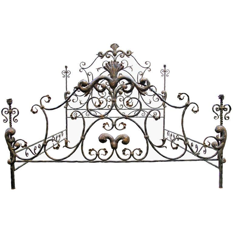 A Neoclassical And Baroque Revival Bed In Wrought Iron Signed