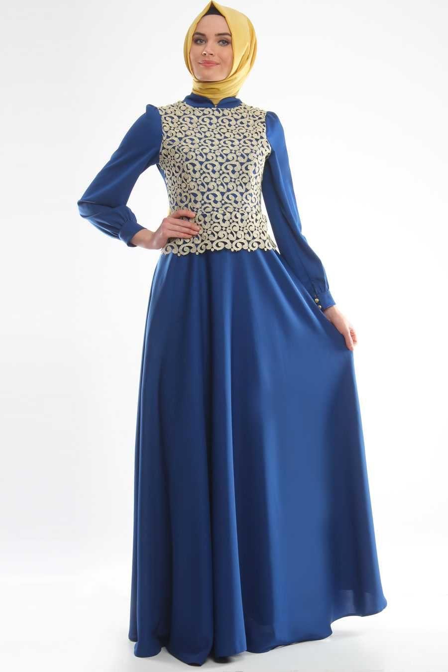 da9eaeda006e5 Tesettür Giyim Şık Abiye Elbise Modelleri Tuay Saks Mavisi Renkli Dantel  İşlemeli Uzun Abiye Elbise Modeli