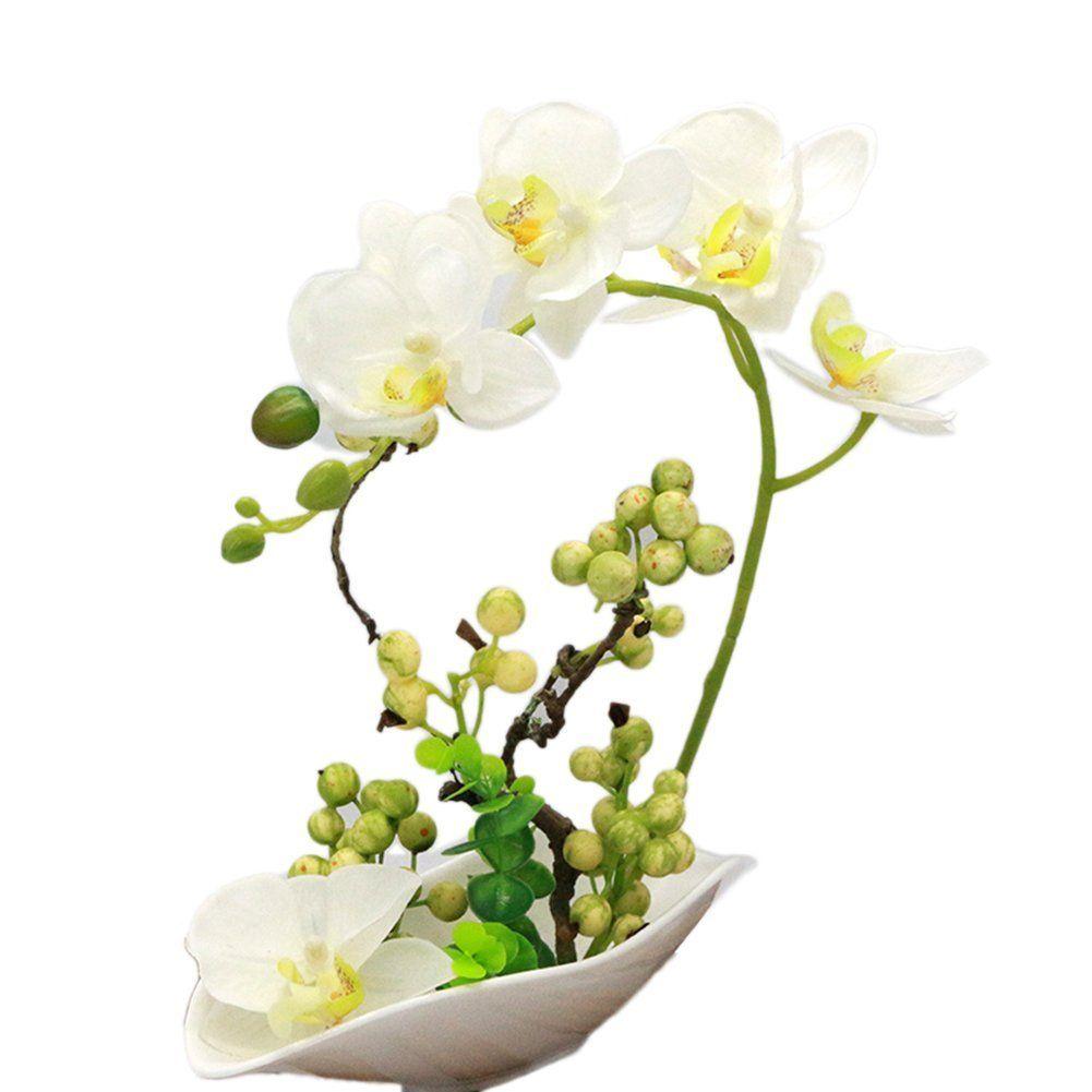 Lianle simulation orchid phalaenopsis bonsai silk flowers in pot 1 set 4 colors flower vase artificial orchid silk cloth simulation flower arrangement well bonsai plant with ceramic flower pot mightylinksfo
