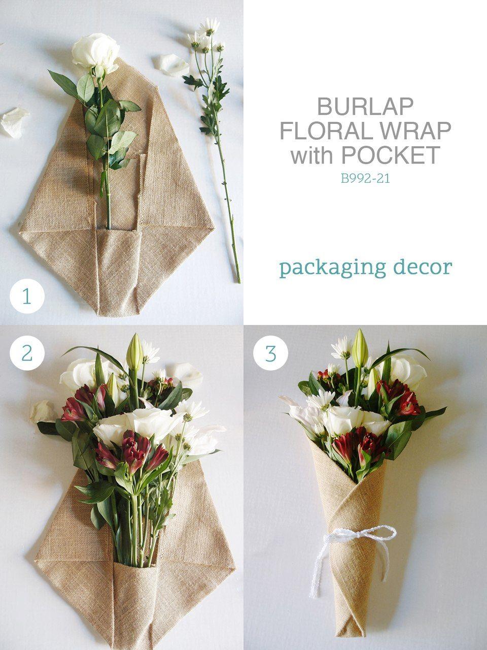 """14"""" x 20.75"""" Burlap Floral Wrap with Pocket Bouquet wrap"""