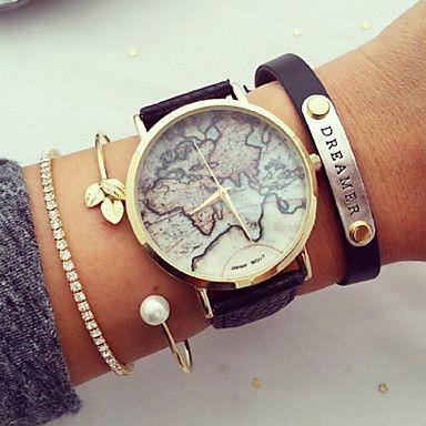Damen Uhr Armband Uhr Weltkarte Quartz Gestepptes Pu Kunstleder