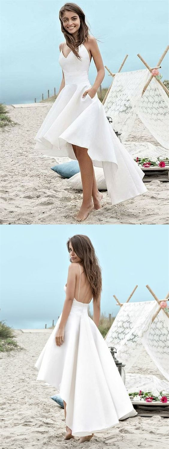 Aline spaghetti straps high low asymmetrical white backless satin