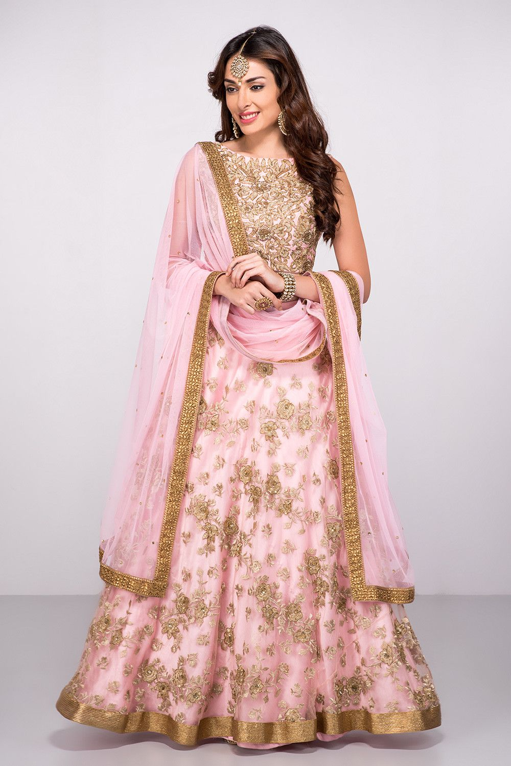 ABHILASHA Pink Embroidered Lehenga Set | Traditional | Pinterest ...