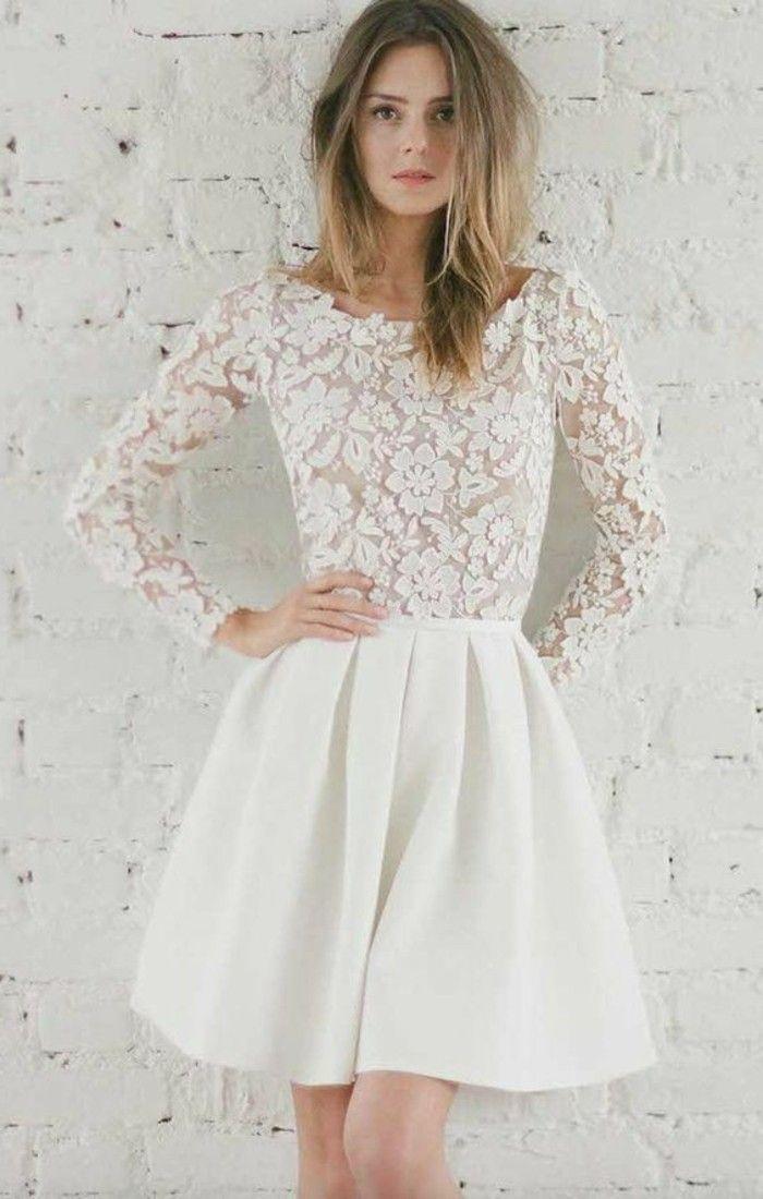 ed3415af9 vestidos-de-novia-cortos-mangas-largas-de-encaje-con-flores
