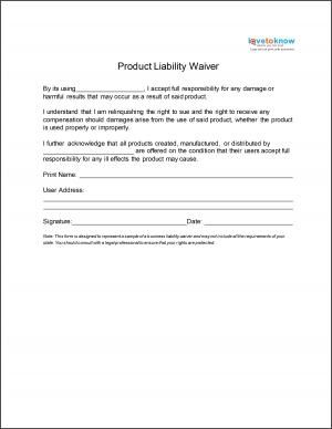 Product Liability Waiver  Things For My Wall