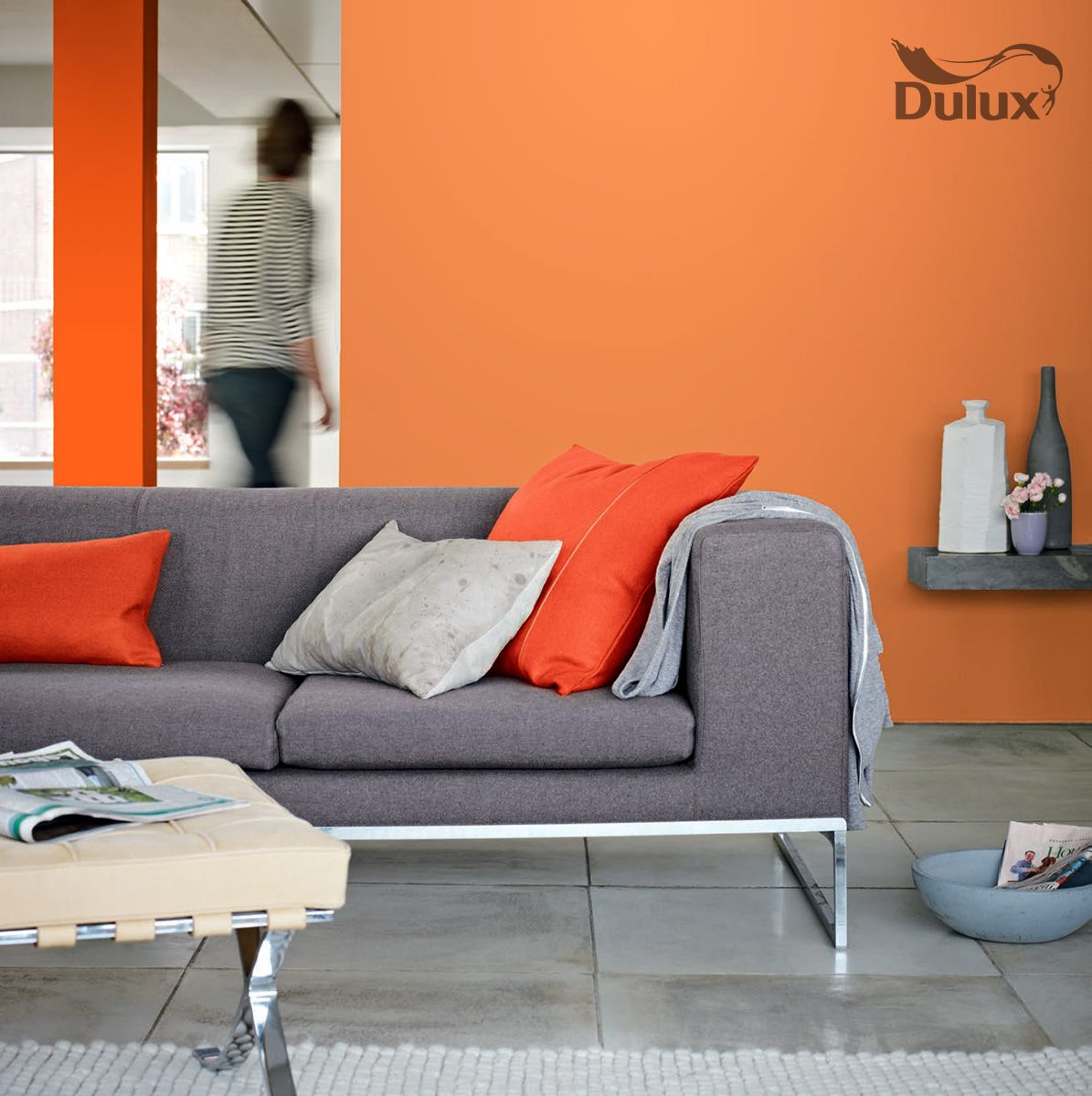Dulux orange colour oranges pinterest paint ideas - Burnt orange feature wall living room ...
