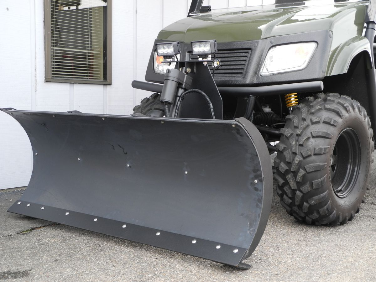Our new M&M 54-inch snow plow kit for UTVs and golf cars