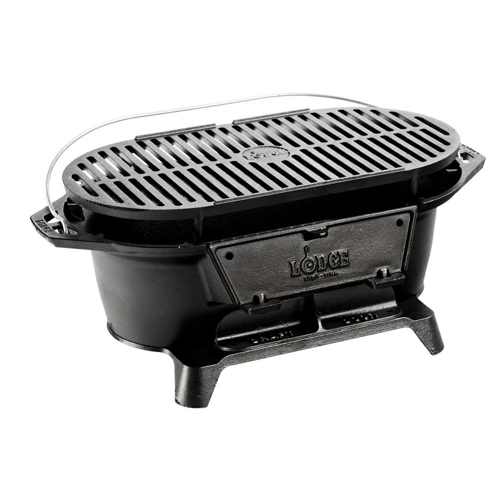 Lodge Logic Cast Iron Sportsman S Grill L410 The Home Depot In 2020 Cast Iron Charcoal Grill Best Charcoal Grill Lodge Cast Iron