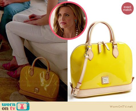 Paige's yellow patent leather bag on Royal Pains.  Outfit Details: http://wornontv.net/34413/ #RoyalPains