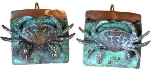 Marvelous Etched Verdigris Patina Brass Crab Earrings Price : $49.00  Http://www.collectibleartwear.com/Etched Verdigris Patina Brass  Earrings/dp/B0069YQ9J2