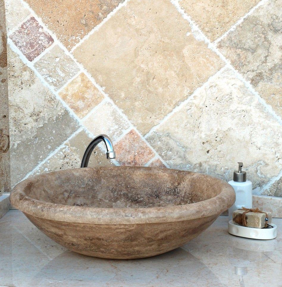 Awesome Bathroom, : Vintage Oval Stone Vessel Sinks Bathroom Ideas On The Gloss  Marble Top Table