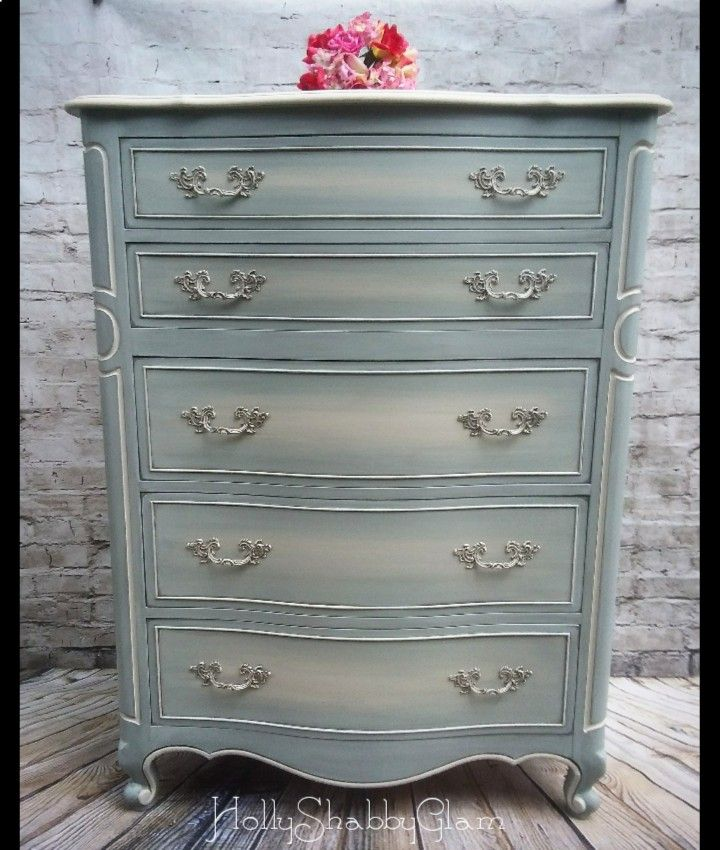 Painted blue French provincial dresser blended with cream ...