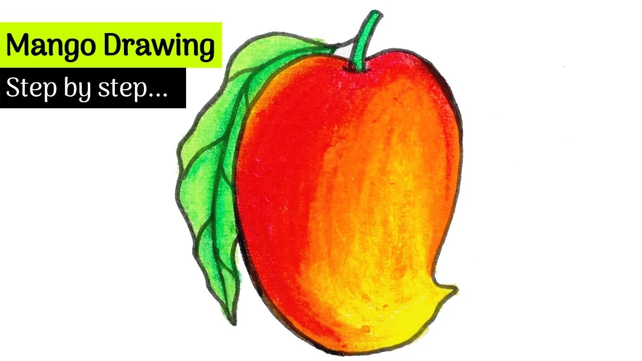 Easy Ripe Mango Drawing Step By Steps Fruits Drawing Step By